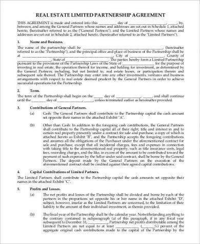 real estate limited partnership agreement