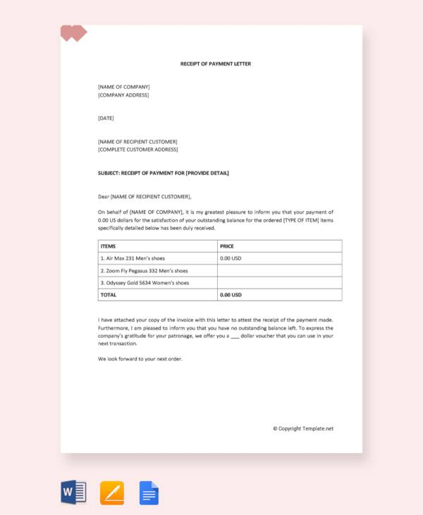 8+ Sample Payment Received Receipt Letters - PDF, DOC