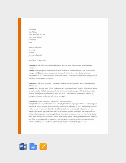 free 28  letter of recommendation in ms word