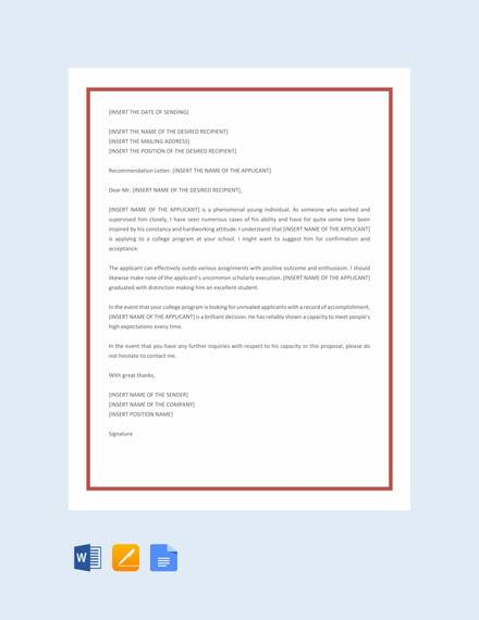 Free 20  College Recommendation Letter Templates In Pdf