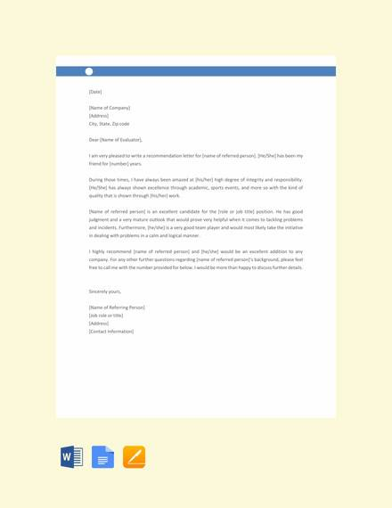 reference letter for friend template