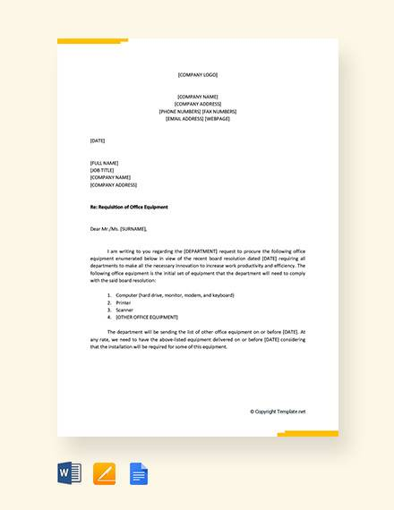 requisition letter for office equipment