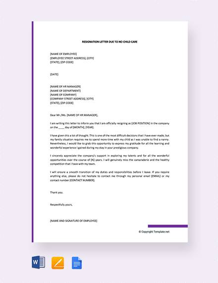 8+ Sample Childcare Resignation Letters - PDF, DOC