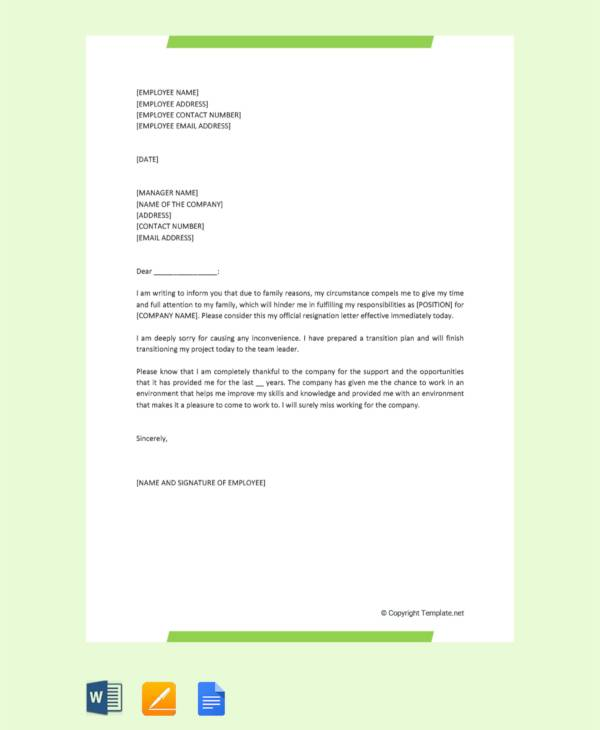 10  sample resignation letter for family reasons