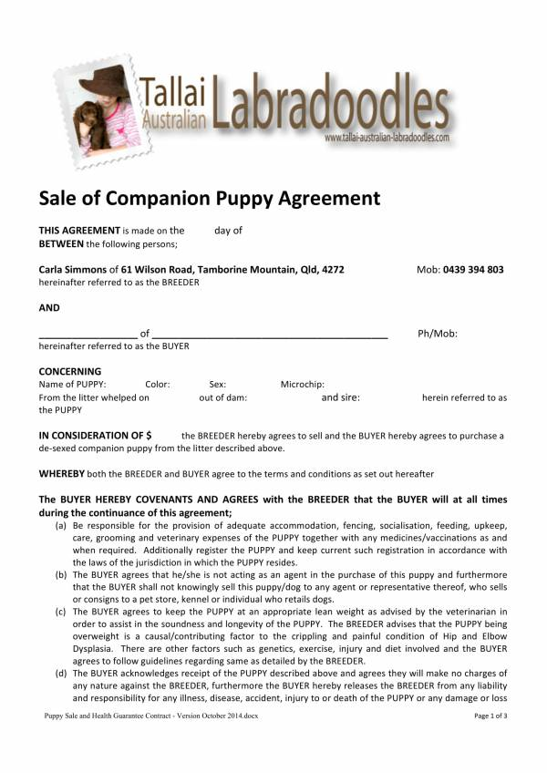 sale of companion puppy agreement contract 1