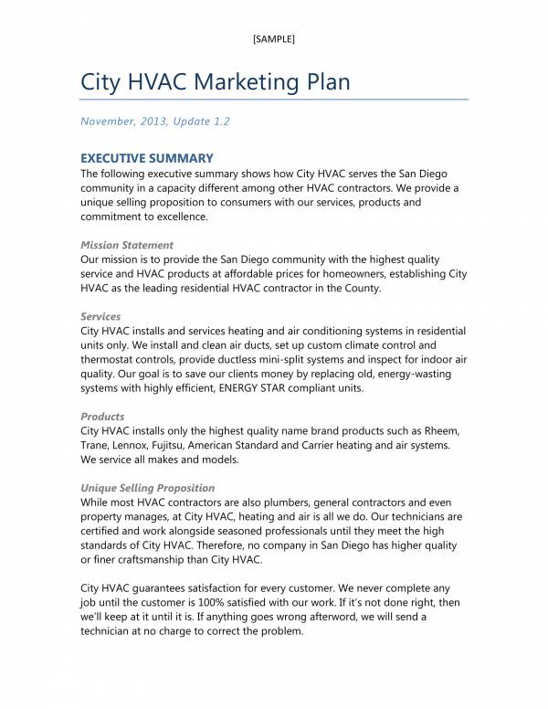 sample city hvac business and marketing plan 1