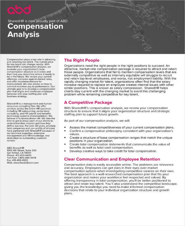 sample compensation analysis