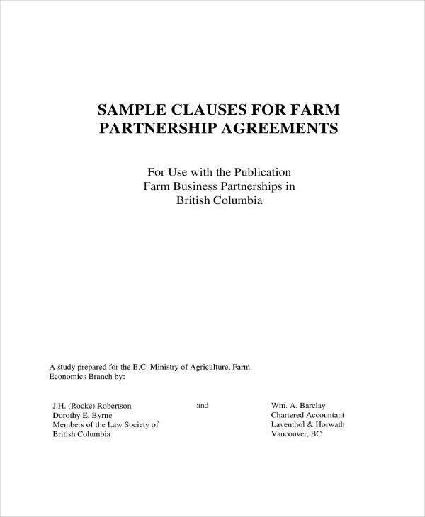 sample farm partnership agreement