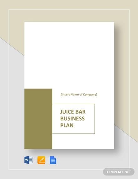 sample juice bar business plan template