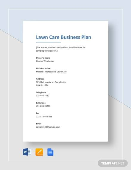 sample lawn care business plan template