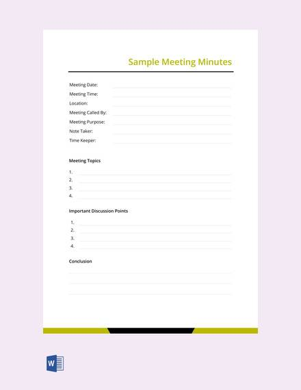 sample meeting minutes template