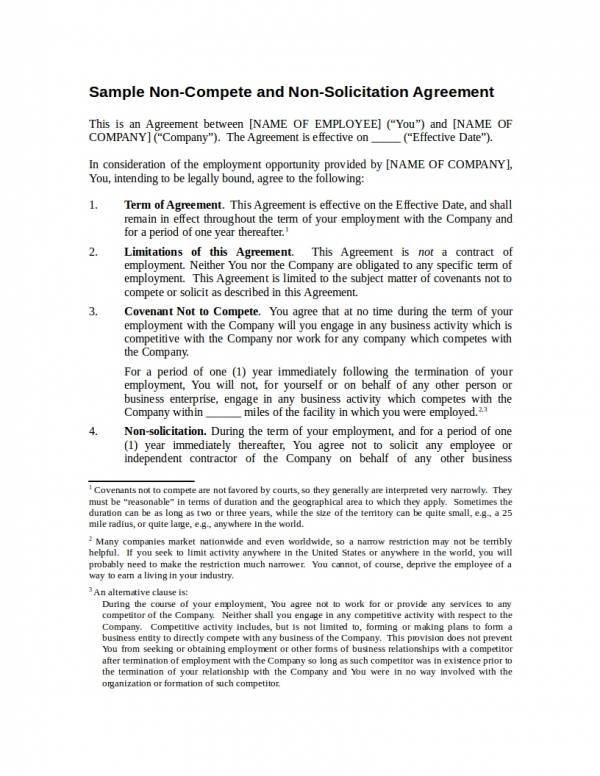 sample non compete and non solicitation agreement template