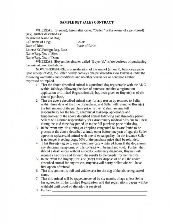 sample pet sales contract template