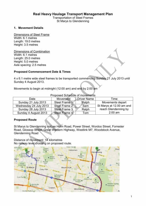 sample transport management plan for osom movement 01
