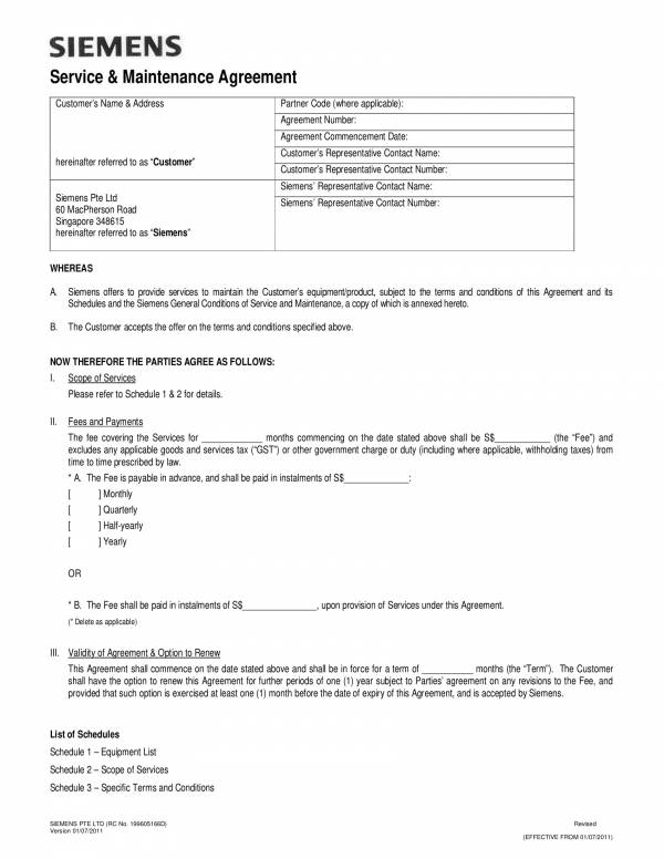 service and maintenance contract template 1