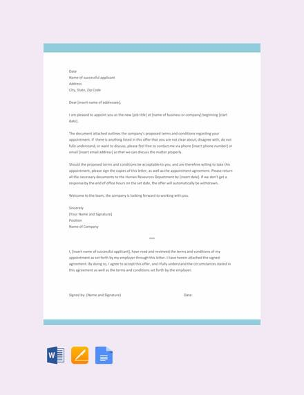 simple appointment letter template