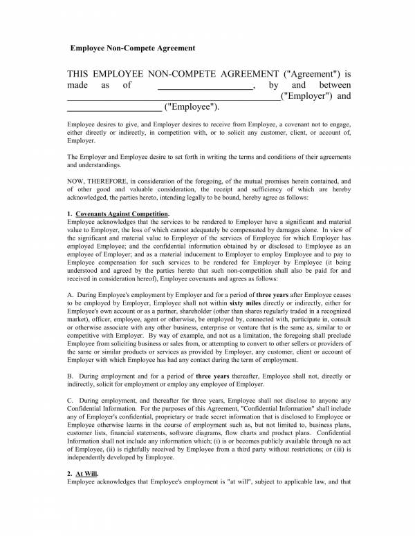 simple employee non compete agreement template 1