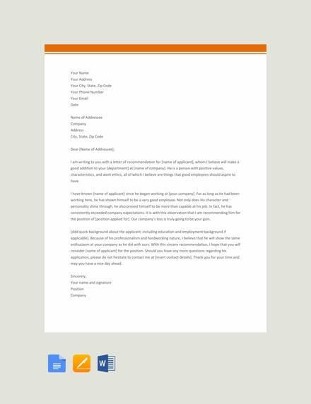 9 Sample Recommendation Letters Doc Pdf