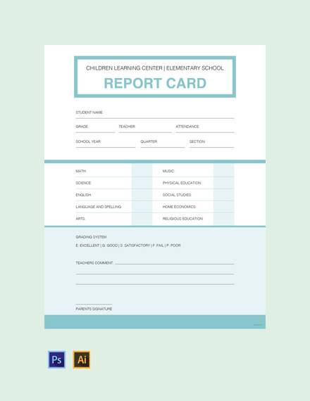 13 Sample Report Cards Pdf Word Excel