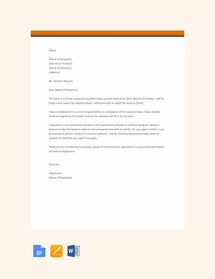 Free 9  Sample Vacation Request Letter Templates In Pdf