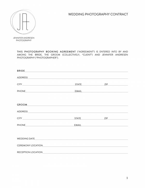 10+ Wedding Photography Contract Templates - PDF, Word