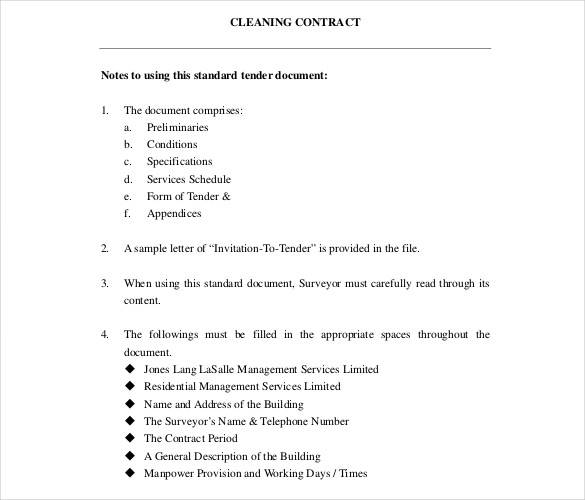 standard tender document for cleaning contract