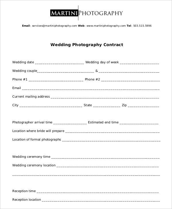 standard wedding photography contract template