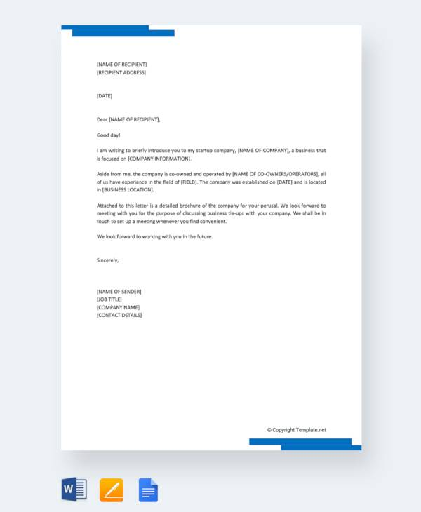 startup company introduction letter1