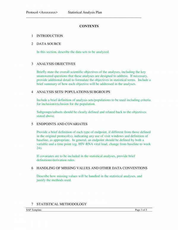 statistical analysis plan sample template 3