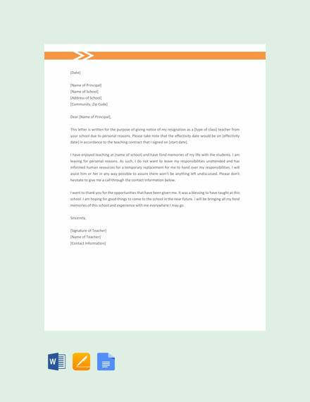 8 Sample Resignation Letters For Personal Reasons Doc Pdf