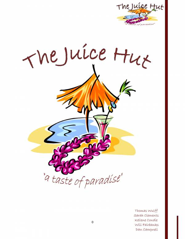 the juice hut business plan sample 01