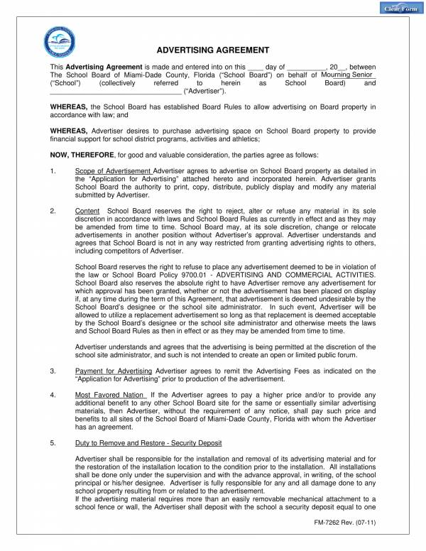 advertising and marketing agreement for school board 1