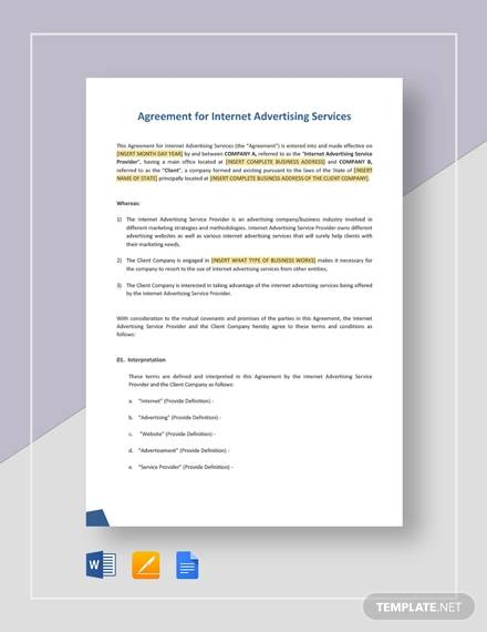 agreement for internet advertising services