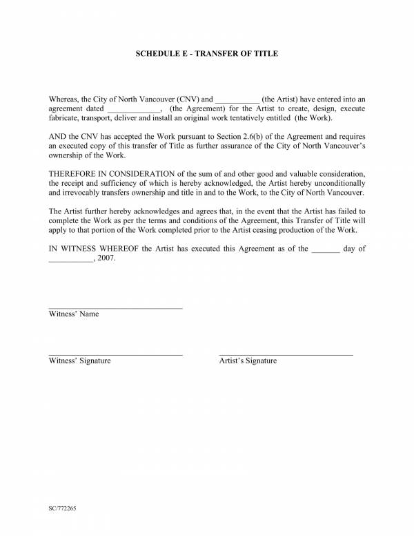 artist transfer of title agreement template 26
