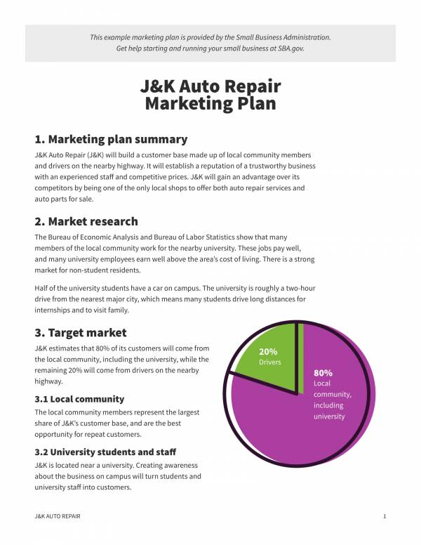 auto repair sample marketing plan template 1