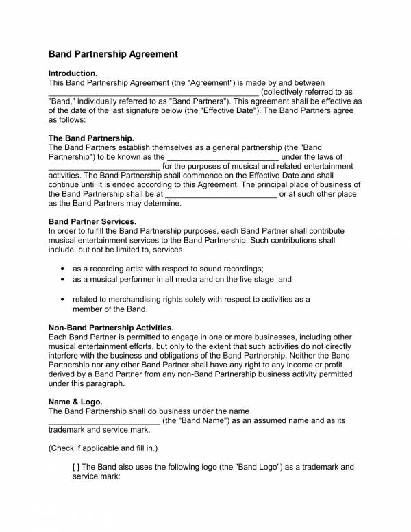 band partnership contract template 1
