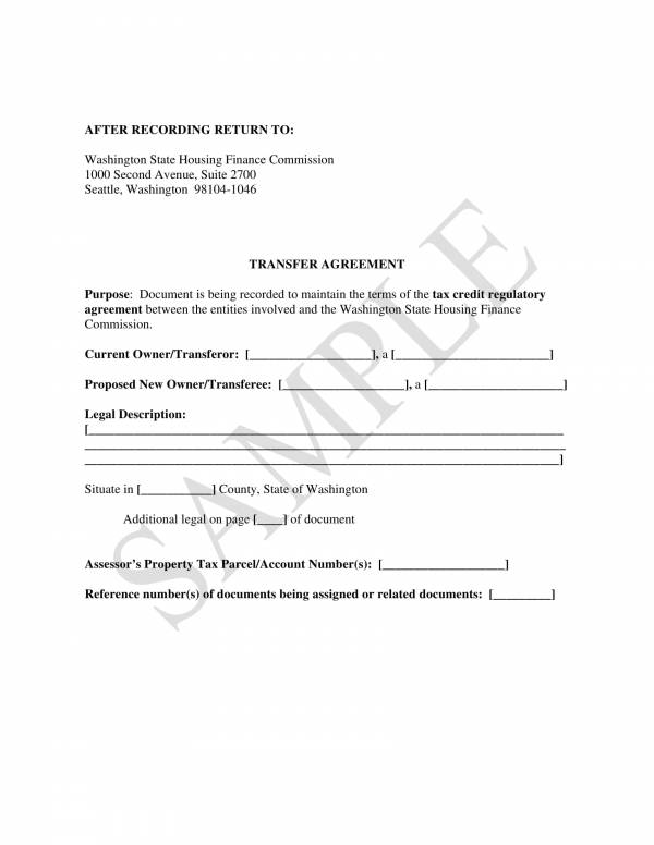 bond transfer agreement template 1