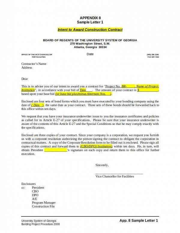 construction awardng contract letter template
