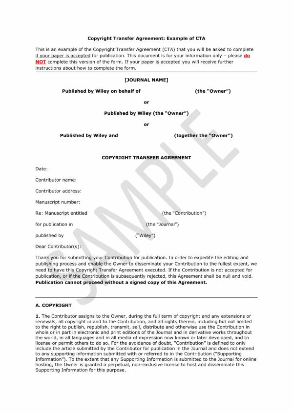 copyright transfer agreement sample template 1