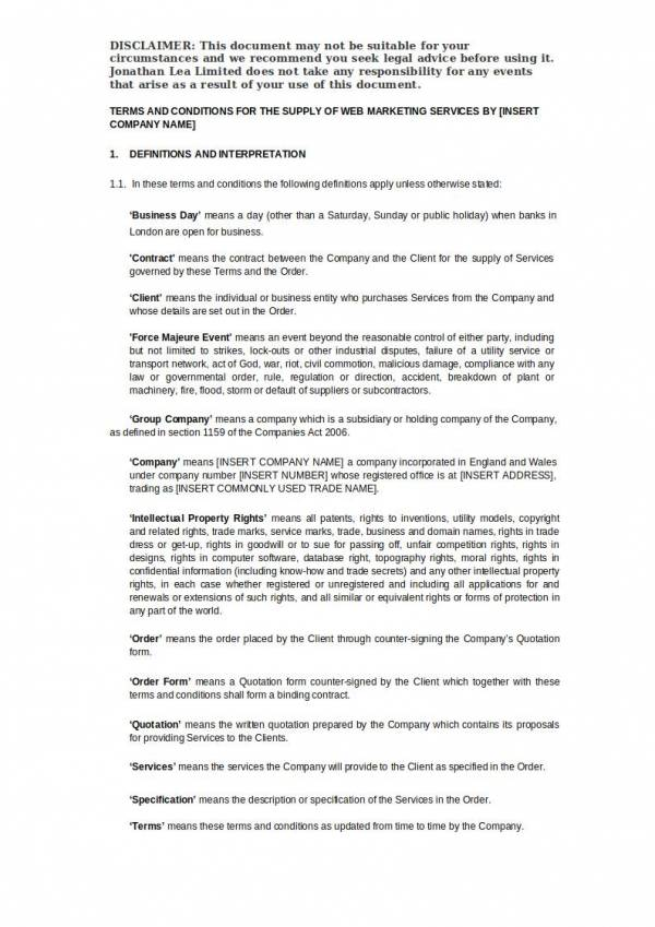 digital marketing agency service agreement template