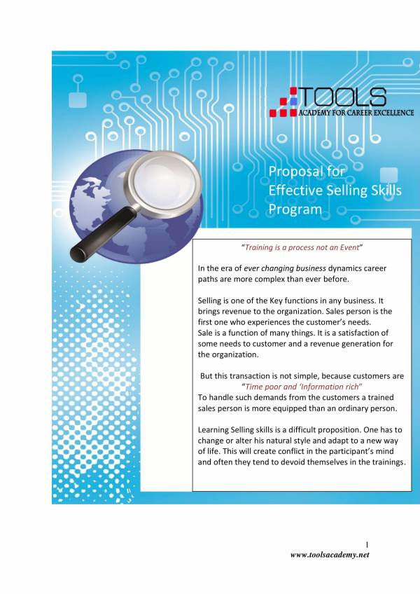 effective sales training proposal sample 1