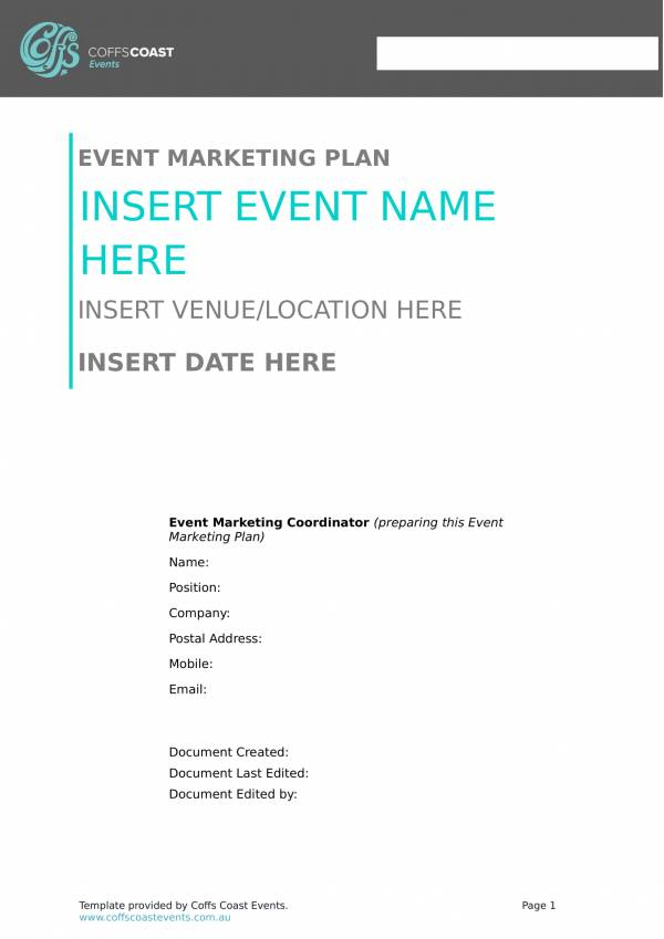 elegant event marketing plan template 1