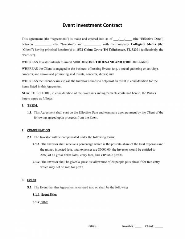 event investment contract template 1