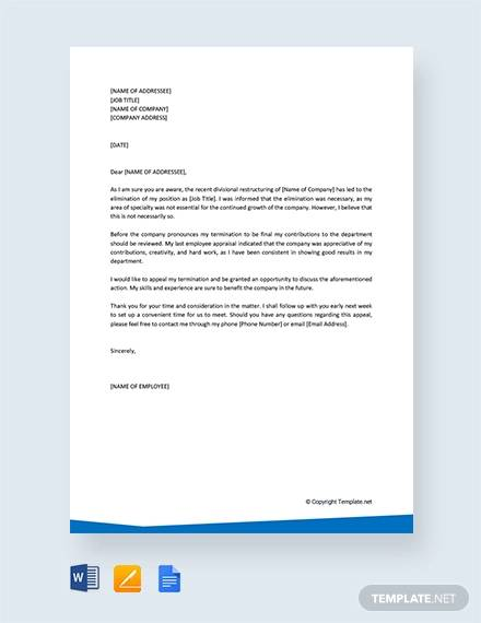 free appeal letter for termination of employment
