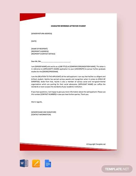 free character reference letter for student