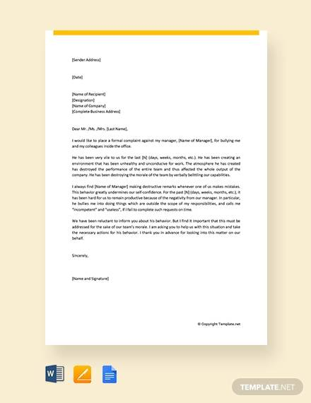 free formal complaint letter about manager