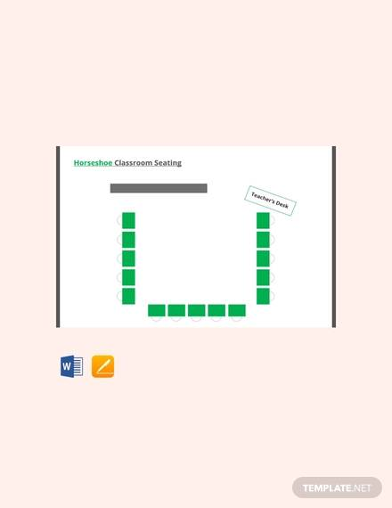 free horseshoe classroom seating arrangements template