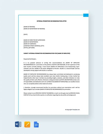 8  sample promotion recommendation letter