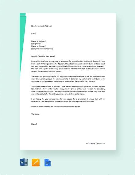 free self promotion recommendation letter