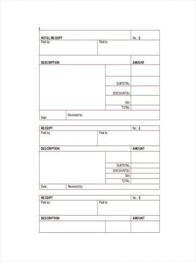 hotel official receipt sample template